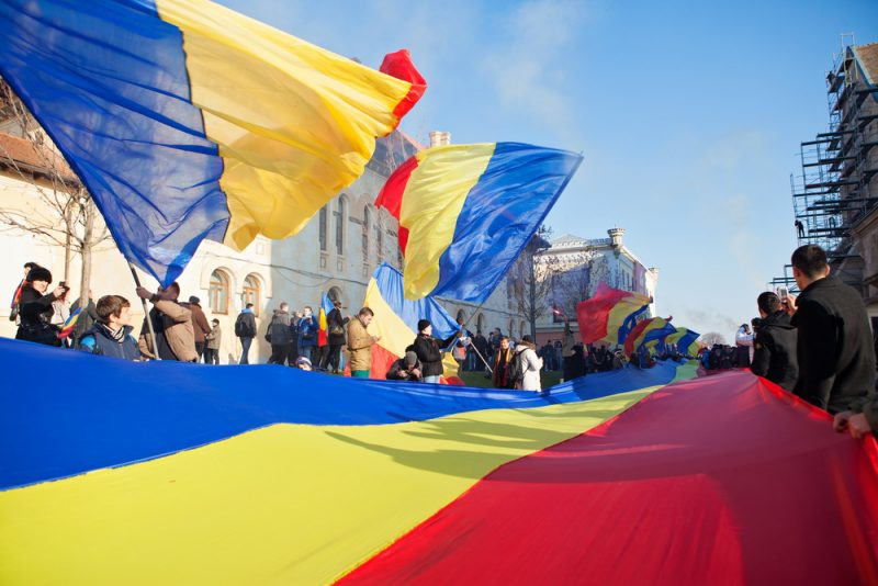 Romanian flags in Alba Iulia