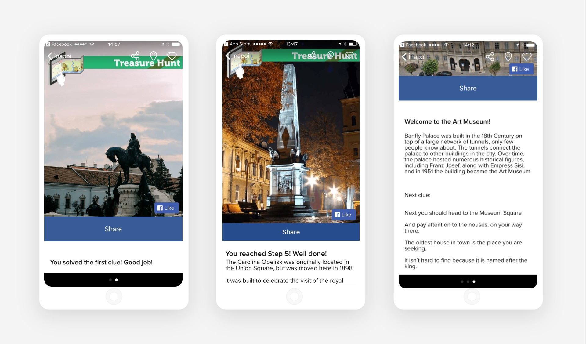 Campaigns on Zoniz app for Discover Cluj project