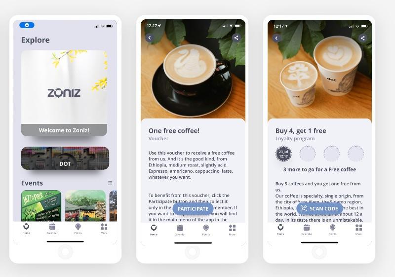Screenshots on Zoniz app